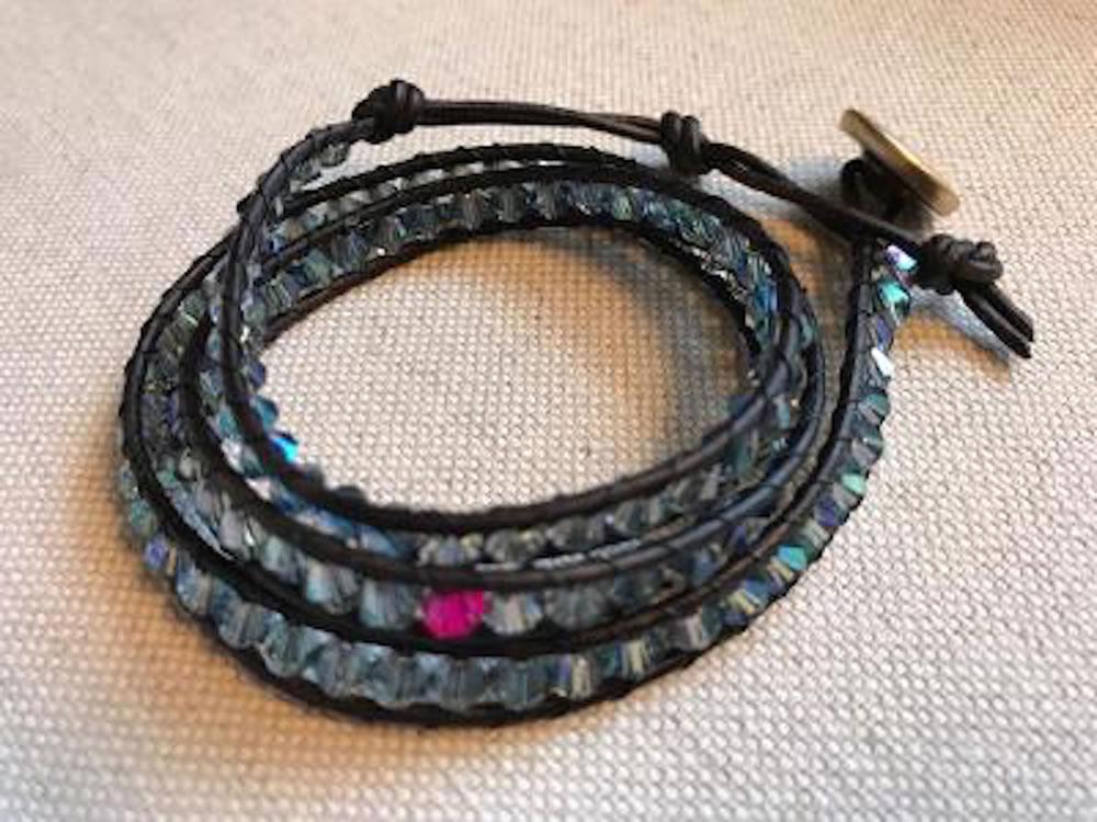 Blue Crystal Triple Wrap Bracelet