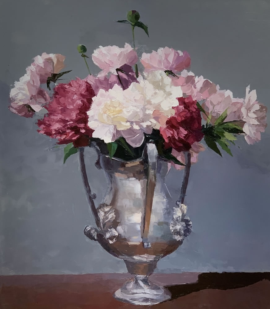 Peonies in a Silver Chalice