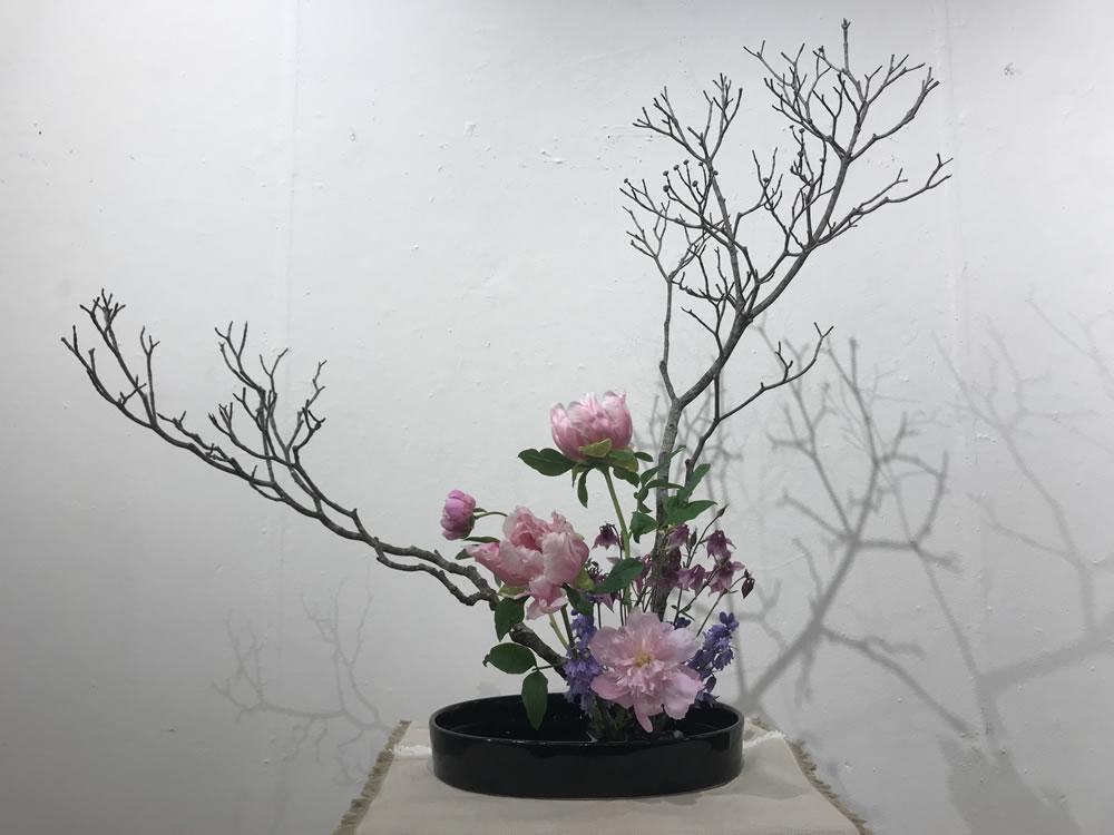 Exhibition Ikebana with Tree Peonies